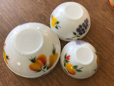 3 Fire King Oven Ware Painted Fruit  Bowls Milk Glass