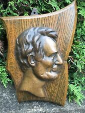 Vintage Abraham Lincoln Bronze Portrait Bust Bookends Doorstop Heavy
