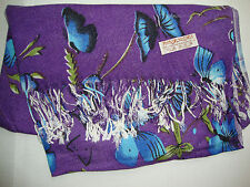 NEW Pashmina Fall Spring Scarf Scarves Silk Violet Blue Butterfly Shawl Wrap