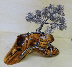 """Silver Wire Bonsai Tree Sculpture On Wood  Base 7"""" tall - Handcrafted"""