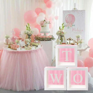 3pcs TWO Transparent Baby Shower Boxes Storage Balloon 2nd Birthday Party Decor