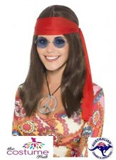Ladies Hippy Chick Kit 60s 70s Hippie Groovy Brown Wig 70's Costume Accessories