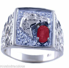 Ruby & Diamond Horse Head Ring 14K White Gold Lucky