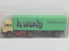 """Mercedes-Benz Koffersattelzug """"h.wenig Möbelvertrieb"""", grün, OVP, Roskopf, 1:87"""