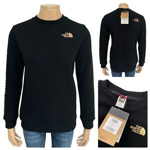 THE NORTH FACE Women's Note Black Crew Neck Sweatshirt Rose Gold Logo Size S NEW