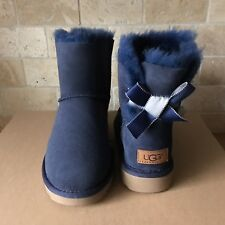 UGG MINI BAILEY BOW II SHIMMER NAVY BLUE SUEDE BOOTS SIZE US 8 WOMENS
