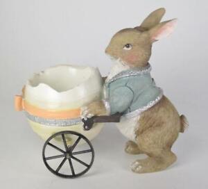 "6"" Long Pastel Bunny Rabbit Pushing Egg Cart Figurine Easter Tabletop Decor"