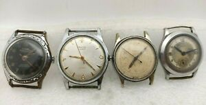 WWII LOT 4 Swiss Watches.MIDO,TUSAL,WYLER,FAVICO.Watches for parts.men's