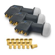 3x ARLI Universal Quad LNB 0.1dB 12 F STECKER vergoldet Sat FullHD 3D Digital 4K