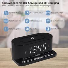 Radiowecker Uhrenradio Wecker, QI-Ladefunktion, Zwei Weckzeiten, Display dimmbar