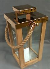 RUSTIC Modern Wood Tapered Pillar Candle Lantern NEW Rose Gold Metal Rope Handle