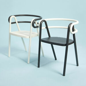 Contemporary Chair, Bent Steel Tubes and Plywood Seat, Set of Two, Black & White