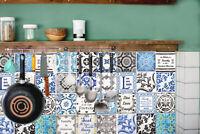 Retro Brown & Blue Mix English Quote Mosaic Tile Wall Stickers 48pcs 15cm x 15cm