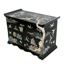 Mother of Pearl Inlay Asian Lacquer Wood Purple Trinket Chest Jewellery Gift Box