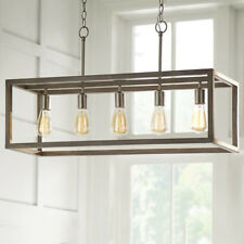 5-Light Brushed Nickel Island Chandelier Weathered Wood Accents Boswell Quarter