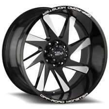 "4-OffRoad Monster M80 22x12 6x5.5"" -44mm Black/Milled Wheels Rims 22"" Inch"