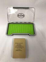 Fly Fishing Fly Box - green silicone insert fly box w/ healing slots USA