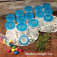 "10 Pill Jar 2+"" tall Screw Aqua Cap 1 ounce Party Favor Size Container 3812 USA"