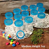 "24 Pill Jar 2+"" tall Screw Aqua Cap 1 ounce Party Favor Size Container 3812 USA"