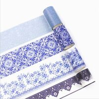 DIY 1 Roll 5M Chinese Style Washi Paper Tapes Blue and White Porcelain
