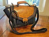Navy Blue Cognac Voodoo Vixen Picnic Crossbody Clasped Stitched Handbag Purse