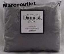 Charter Club Damask Solid 550 Thread Count TWIN EXTRA LONG Sheet Set Stone Gray