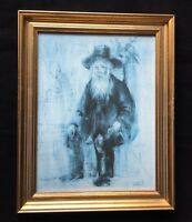 Vtg Framed Lithograph By Edna Hibel Ltd Ed 154/2000 1988 Wall Art Print Old Man