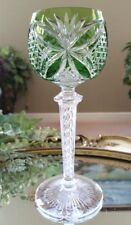Vintage Green Cut to Clear Crystal Wine Goblet, Air Twist Stem, EXCELLENT