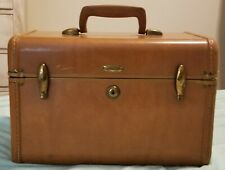 Vintage Samsonite Shwayder Train Case Cognac Cosmetic Make Up Carry-on Luggage