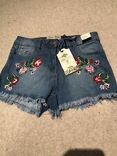Denim Floral Shorts / Hot Pants (size 8)