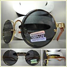Men's CLASSIC RETRO Style SUN GLASSES Round Gold & Wood Wooden Frame Dark Lens