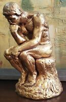 "Mid 20th Century After Auguste Rodin ""The Thinker"" Gold Chalkware Sculpture"