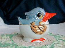 THE TAKITO CO JAPAN BLUE & GOLD BIRD W/ ORANGE BILL LUSTRE WARE SUGAR BOWL
