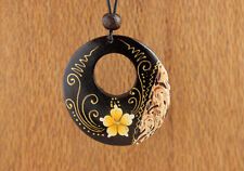 Beautiful Painted Wood Necklace Natural Dark Brown Boho Flower Hippie Yellow