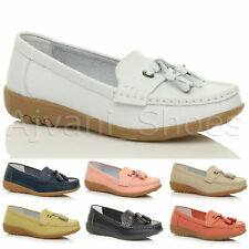 WOMENS LADIES LOW HEEL WEDGE LEATHER TASSEL LOAFERS COMFORT MOCCASINS SHOES SIZE