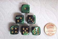 DICE 12mm *6* CHX GEMINI BLACK/GREEN w/GOLD PIPS - SMALL SIZE! BLACK & GREEN!