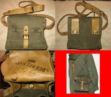 Vintage French Military Leather And Canvas Shoulder / Ammo Bag - NEW OLD STOCK