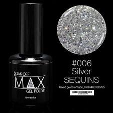 MAX 15ml Soak Off Gel Polonais Nail Art UV LED Couleur # 006 - Silver Sequins