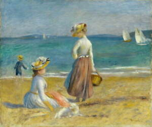 Auguste Renoir Figures on the Beach Poster Reproduction Giclee Canvas Print