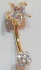 Vch Clitoral Clit Hood Barbell 14 gauge 18k Gold Plated Clear Star Gem Ball