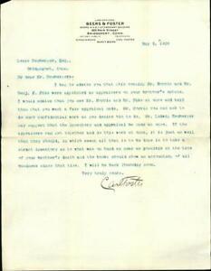 1909 Bridgeport Conn Letter Beers & Foster Louis Neuberger Carl Foster JEWISH