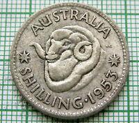 AUSTRALIA ELIZABETH II 1953 ONE SHILLING, RAM'S HEAD, SILVER PATINA