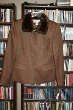 Talbots  Brown wool Herringbone faux fur collar Blazer Jacket 8 $218 NEW  (b165)