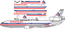American hybrid DC-10-10 airliner decals for Revell 1/144 kits