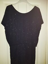 BNWT Next Tall Midnight Blue Sparkly Beaded Dress Size 14 RRP £95