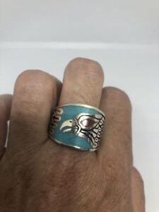 1980's Vintage Silver White Bronze Size 9.25 Men's Hawk Turquoise Inlay Ring