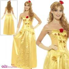 Ladies Golden Princess Adult Fairytale Beauty Belle Book Day Fancy Dress Costume