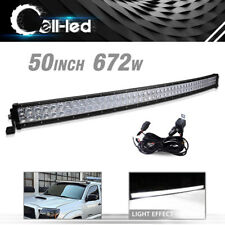 Curved 50inch LED Light Bar 672W Combo +Wiring Offroad Truck 4WD Marine Pickup