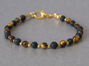 Tigers Eye, Black Lave Rock & Gold Plate Slim Gemstone Beaded Bracelet Stunning!