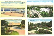 WA - SEATTLE - Four Vintage Cards - Pontoon Bridge, Art Museum, Lesi Park/Garden